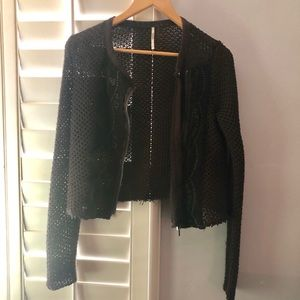 Free People knit zip up sweater